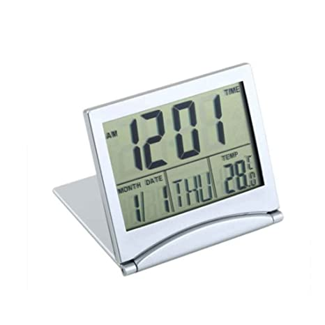 fangfei Escritorio Cubierta Termómetro Digital Flexible Escritorio del Reloj de Tabla de Visualización del LCD del