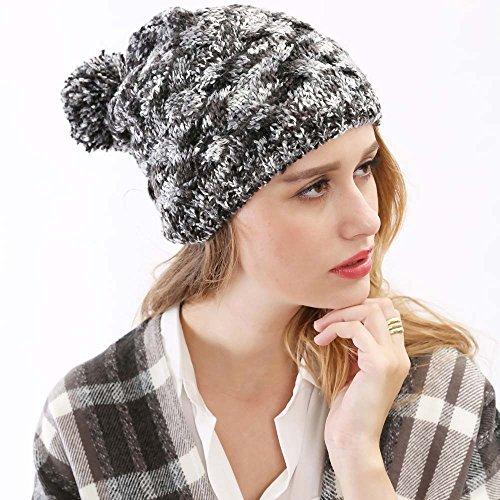 Maozi Las con señoras Knit Invierno Casco 1 señoras del del Sombreros Moda Las del Americanas 2 Sombrero Hilado la Bola rAYgqrwZx