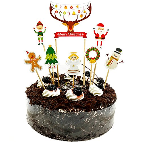 8Pcs Merry Christmas Season Cake Toppers Appetizer Picks Cupcake Toppers Decorating Tools for Christmas Party Supplies Christmas Food Party Decorations