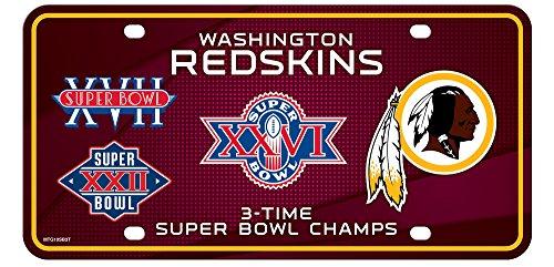 Washington Redskins 3X Super Bowl Champions Aluminum License Plate Tag Football (3x Super Bowl)