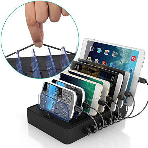 IMLEZON 7 Port Charging Station USB Charging Station for Multiple Devices (Black, not Included Cables) -