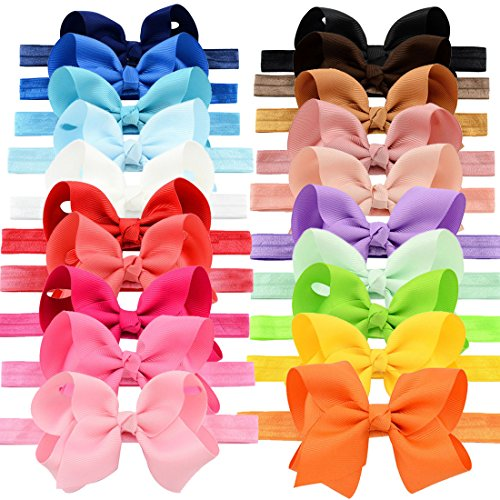 YOY Fashion Baby Girls Boutique Hair Accessories Stretchy Elastic Bands Headbands Set with Grosgrain Ribbon Bows Head Wear for Toddlers Teens Kids Pack of 20