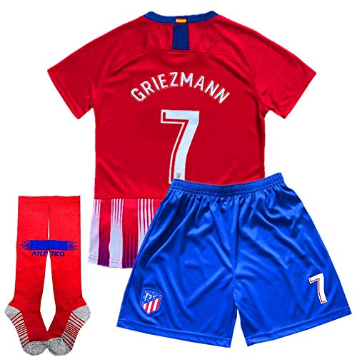 890ee6f683e Griezmann  7 Soccer Jersey 2018-2019 Atletico Madrid Home Kids Soccer  Jersey   Shorts   Socks Color Red Size 7-8Years 22