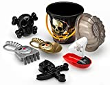 ToyZe 6 Piece Pirate Set Sand Toys, Pirate Beach Bucket Set, Create Pirate Sand Molds at the Beach Packed in Large 7 Inch Beach Pail