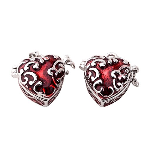 Pandahall 2 pcs Red Heart Brass Prayer Wish Craft Photo Frame Locket Box Necklace Pendants - Frame Photo Art Heart Charm