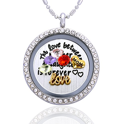 The Love Between a Mother and Daughter is Forever Floating Charm Necklace