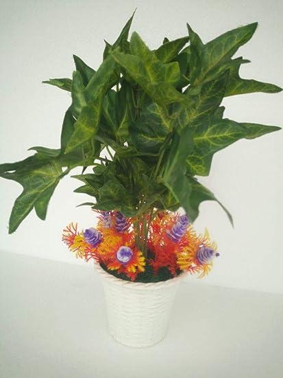 Buy Adaspo Artificial Green Bonsai Money Plant With Orange Leaves