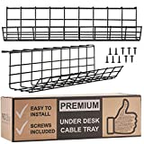 Under Desk Cable Management Tray - Cable Organizer for Wire Management. Metal Wire Cable Tray for Office and Home (Black 2 Pack)