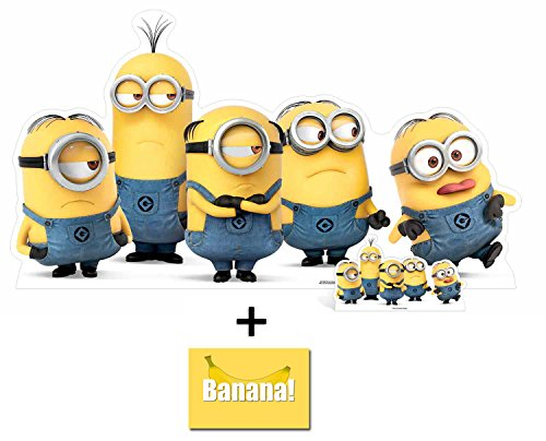 Fan Pack - Mischievous Minions Group Pose Lifesize and Mini Cardboard Cutout / Standup / Standee - Includes 8x10 Star Photo