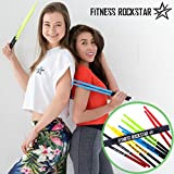 Original High-Grade Plastic FITNESS ROCKSTAR DRUMSTICKS for Fitness, Aerobic Classes, Workouts, Exercises, Cardio Drumming + ANTI-SLIP Handles, Green Pair
