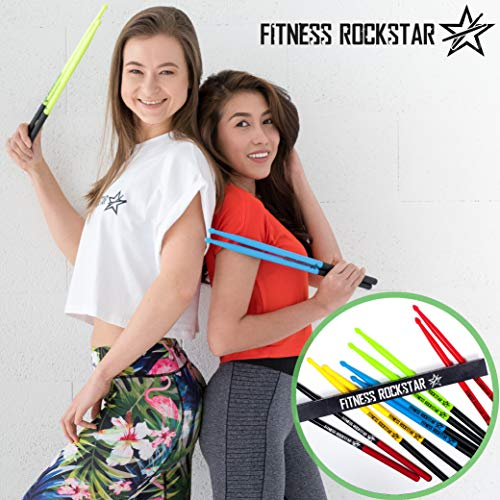 Original 'FITNESS ROCKSTAR DRUMSTICKS' for Fitness, Aerobic Classes, Workouts, Exercises, Cardio Drumming + ANTI-SLIP Handles, High-Grade Plastic, Black Pair