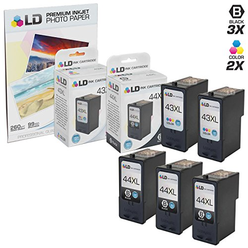 LD © Remanufactured Lexmark 18Y0144(#44) and 18Y0143 (#43) Set of 5 Ink Cartridges: Includes 3 Black and 2 Color Cartridges and a FREE 20-pack of LD brand 4x6 Photo (18y0144 44 Black Cartridge)