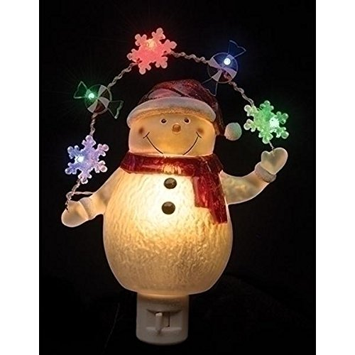 Night Light Snowman and Garland 7.75