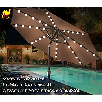 STRONG CAMEL 9u0027 NEW SOLAR 40 LED LIGHTS PATIO UMBRELLA WITH CRANK TILT  GARDEN OUTDOOR