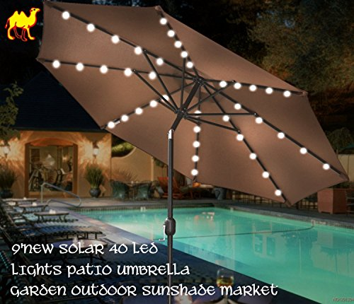 STRONG CAMEL 9' NEW SOLAR 40 LED LIGHTS PATIO UMBRELLA WITH CRANK TILT GARDEN OUTDOOR -BROWN