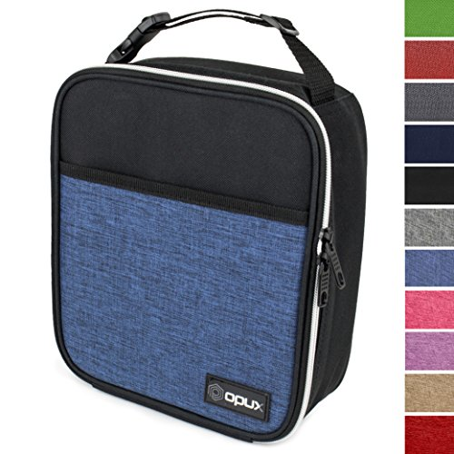 Soft Insulated Lunch Box (OPUX Premium Thermal Insulated Mini Lunch Bag | School Lunch Box For Boys, Girls, Kids, Adults | Soft Leakproof Liner | Compact Lunch Pail for Office (Heather Navy))