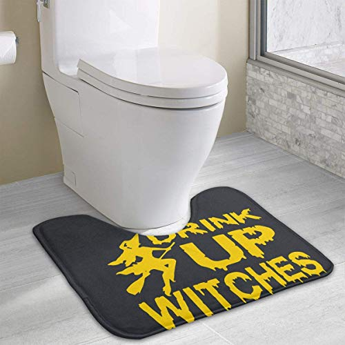Beauregar Drink Up Witches Contour Bath Rugs,U-Shaped Bath Mats,Soft Memory Foam Bathroom Carpet,Nonslip Toilet Floor Mat 19.2″x15.7″