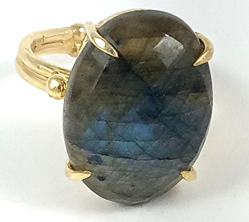 1 Piece Labradorite Coated Ring Vermeil 925 Sterling Silver Antique Finish Ring 925 Sterling 22 mm x 15 (Black Vermeil Ring)