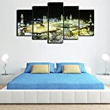 [Medium] Premium Quality Canvas Printed Wall Art Poster 5 Pieces / 5 Pannel Wall Decor Modern Islamic Muslim Poster Painting, Home Decor Pictures - With Wooden Frame