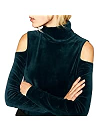 YesFashion Women Turtleneck Pullover Open Shoulder Velvet T-shirt