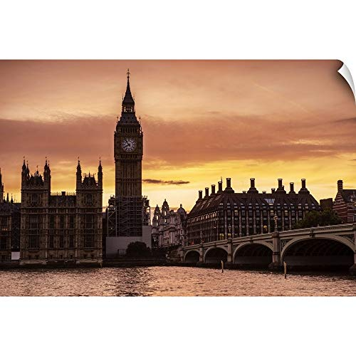 CANVAS ON DEMAND Big Ben and Westminster Bridge at Sunset, London, England Wall Peel Art Print, 24