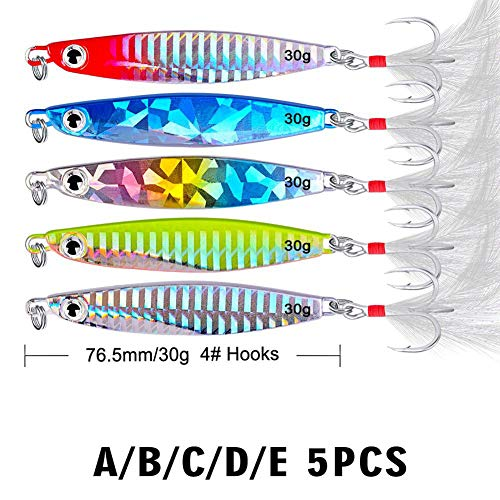 5 Pcs Fishing Lures Set, Metal Fishing Lures Spoon Spinner Baits Fishing Spinnerbait Salmon Trout Lure Baits With Treble…
