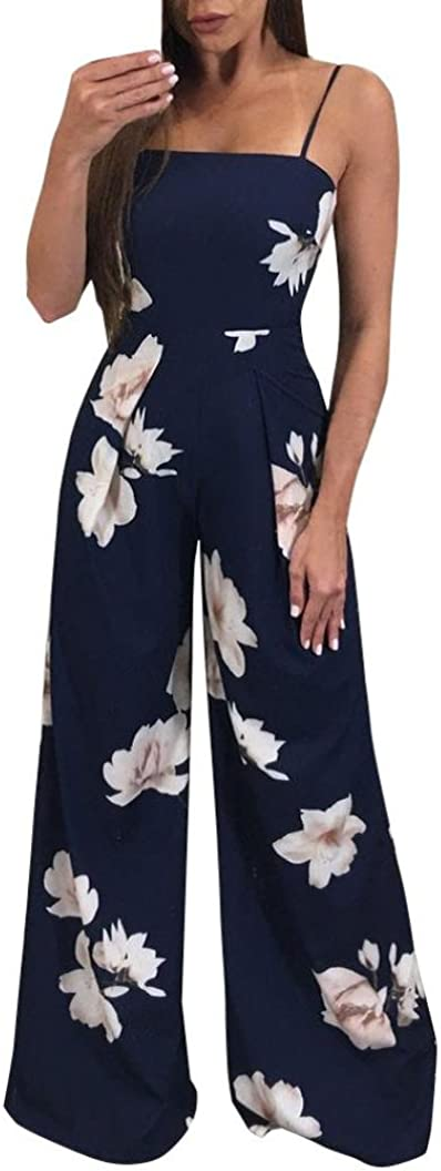 Minisoya Women Backless Floral Clubwear Playsuit Casual Bodycon Party Wide Leg Jumpsuit Romper Long Pants Trousers