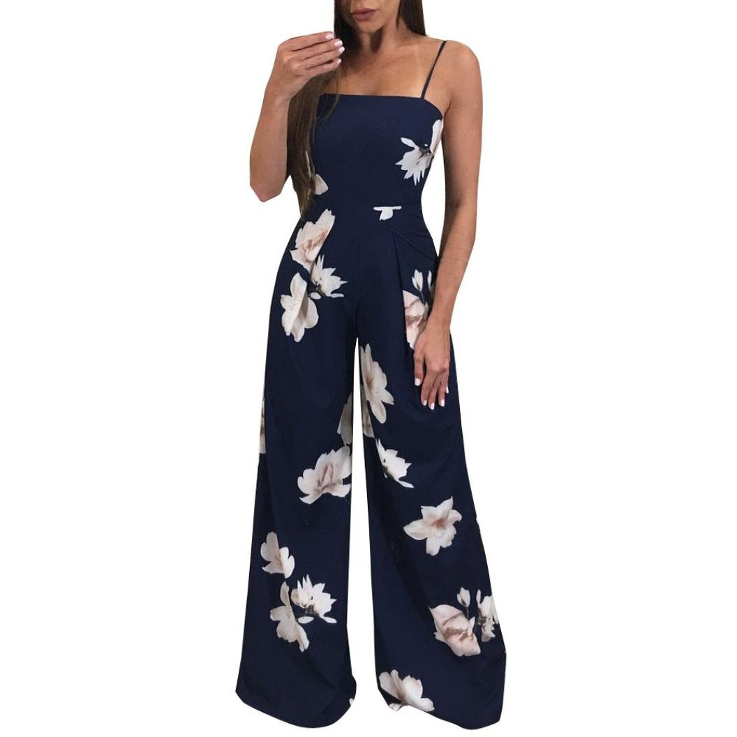 Minisoya Women Backless Floral Clubwear Playsuit Casual Bodycon Party Wide Leg Jumpsuit Romper Long Pants Trousers (Navy, M) by Minisoya