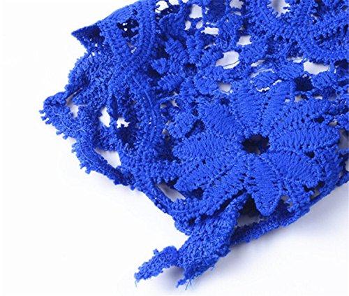 shirt Rond T Aeneontrue Tee Manches Femmes Shirt Col Casual Dentelle Tops Été Haut Bleu Longues qxXwREw