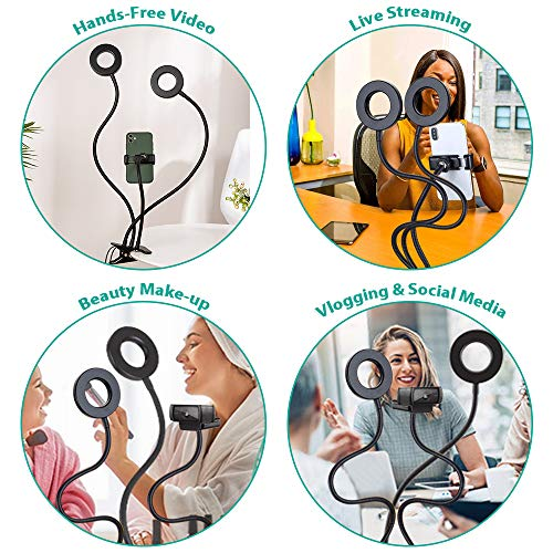 NexiGo 3.5 Inch Dual Selfie Ring Light with Moible Phone & Webcam Holder, 3-Light Modes, 10 Brightness Levels, LED Ringlight with Tripod Stand, for Live Streaming Makeup Video Conference