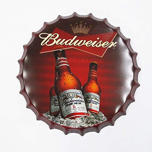 TheHiddenDeer 14 Vintage Metal Tin Wall Decoration - Beer Bottle Cap Metal Decor Home Decor Series - for Home Kitchen Diner - Loft Style - World Beer Series (Budweiser)