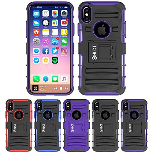 Price comparison product image iPhone X Stand Case, HLCT Rugged Shock Proof Dual-Layer Case with Built-In Kickstand for iPhone X (Black Purple)