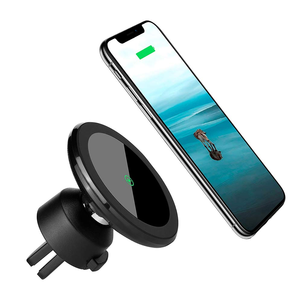 Wireless Car Charger Mount Magnetic Phone Holder, Qi 10W Fast Charging Pad, Dashboard & Windshield Car Mount Charger for iPhone X, 8/8 plus, Samsung S7/S8+/Note 7 & Qi Enabled Devices