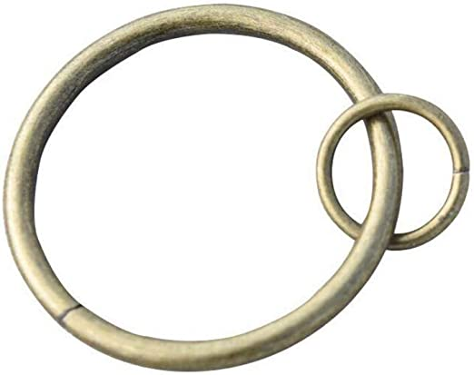 Coideal Bucle de Anillo de Cortina, 10 Pack Pesado de Metal Cortinas Ojales Redondos Anillos de Cortina para Ganchos de Gancho, Ventanas, cafés, caben hasta 1 Varilla de 1/4 Pulgadas (latón Antiguo):