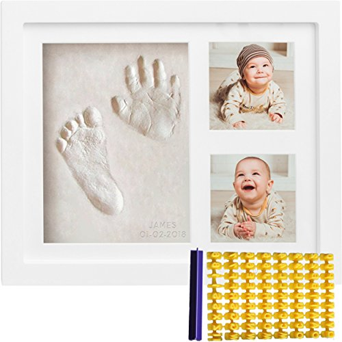 - Baby Handprint Kit & Footprint Kit (FREE Date & Name Stamp) Clay Picture Frame for Newborn - Hand Impression Photo Keepsake - Best Shower Gifts Set for Girls and Boys - Unique White Foot Print No Mold