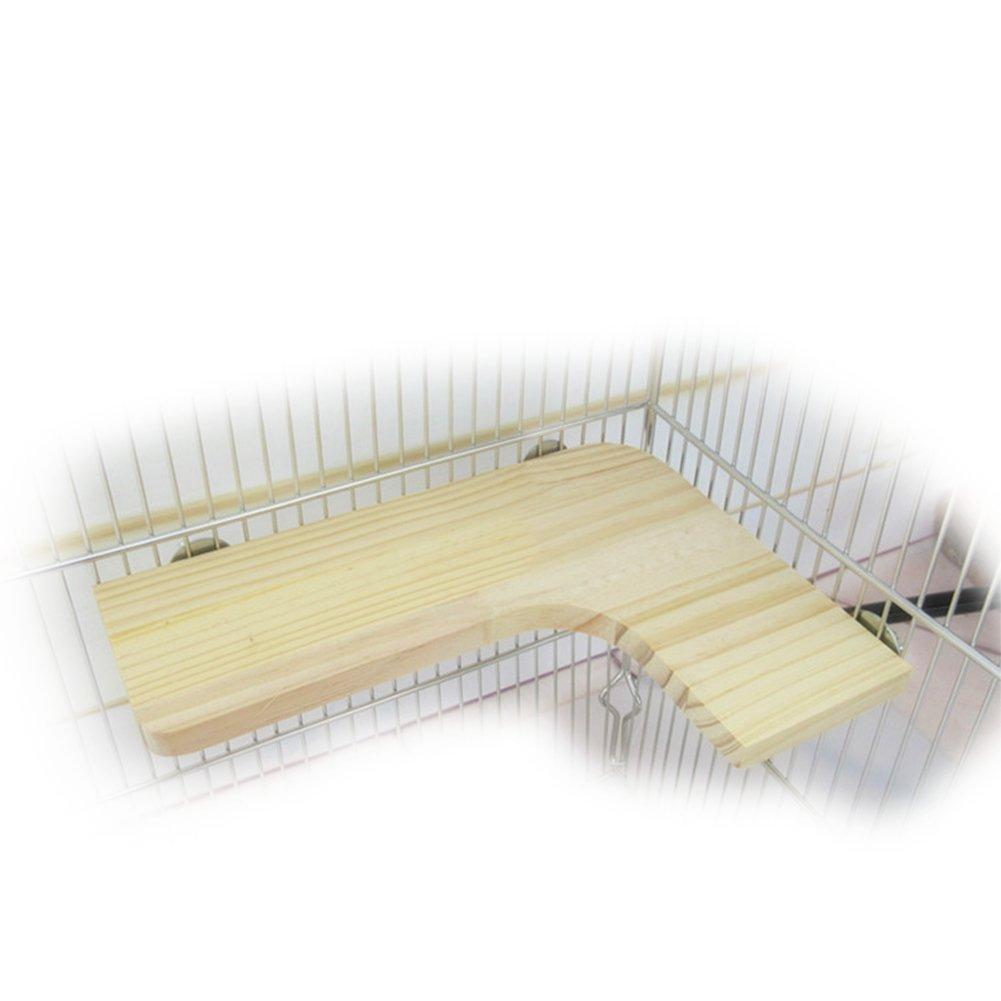 Mokook Squirrel Wood Platform for Mouse Chinchilla Rat Gerbil and Dwarf Hamster, L Shape Stand Platform Design