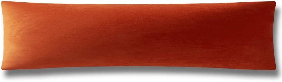 DEZENE Body Pillow Cover, Super Soft Velvet Body Pillowcase with Hidden Zipper Closure for Adultes 21 x 54 Inch, Burnt Orange