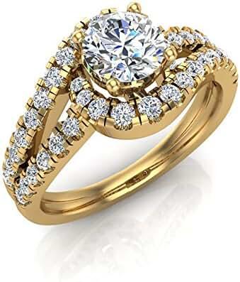 Intertwined Diamond Engagement Ring Wave Shank 14K Gold 1.20 ct (J,I1)