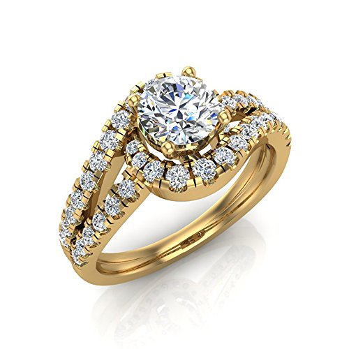 Ocean Wave Intertwined Diamond Engagement Ring for women 14K Yellow Gold 1.20 ct (Ring Size 7.5)
