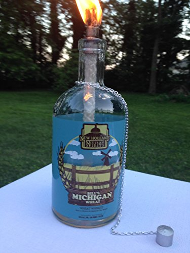 Michigan Lighting (Tiki Torch - Bill's Michigan Wheat Whiskey Bottle - Oil Lamp - Outdoor Lighting - Garden Decor - Whiskey Decor)