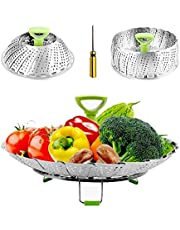 """Steamers for Cooking Stainless Steel Vegetable Steamers Basket, Folding Steamer Insert Fits Various Size Pot and Instant Pot Pressure Cooker, with Anti-hot Extendable Handle and Non-Slip Legs (6""""-9"""")"""
