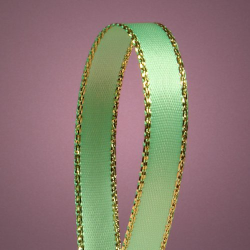 Mint Green Satin Ribbon with Gold Edges, 3/8