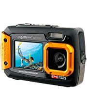 Easypix W1400 Active - Cámara de fotos subacuática (doble pantalla, 20 MP,zoom 4x, sumergible 3 m), color negro/naranja