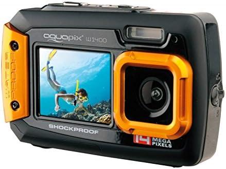 Easypix W1400 Active - Cámara de fotos subacuática (doble pantalla, 20 MP,zoom 4x, sumergible 3 m), color negro/naranja