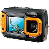 Easypix W1400 Active - Cámara de fotos subacuática (doble pantalla, 20 MP,zoom 4x, sumergible 3 m), color negro amarillo