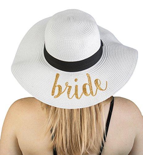 (H-2017-B-WG Embroidered Bridal Sun Hat - Bride (White/Gold))