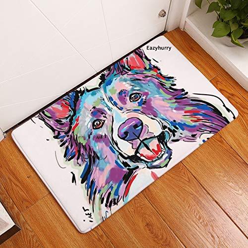 (YJBear Thin Colorful Wolf Dog Pattern Floor Mat Coral Fleece Home Decor Carpet Indoor Rectangle Doormat Kitchen Floor Runner 16