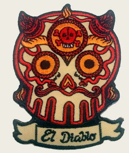 Novelty Iron On Patch - Sugar Skull El Diablo Devil Horns Face Applique