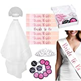 Bachelorette Party Kit - Bridal Shower Party Supplies - 7 Rose Gold Sash for Bride and Team Bride, 1 Rhinestone Tiara, 1 Veil, 1 Drink If Card Game