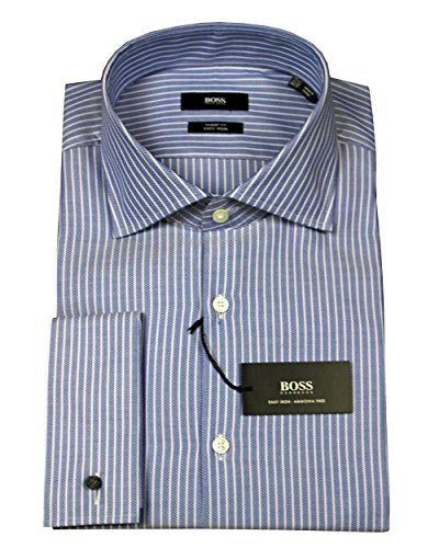 Hugo Boss Malvin Sharp Fit French Cuff Shirt (Dark Blue, 16 32/33)